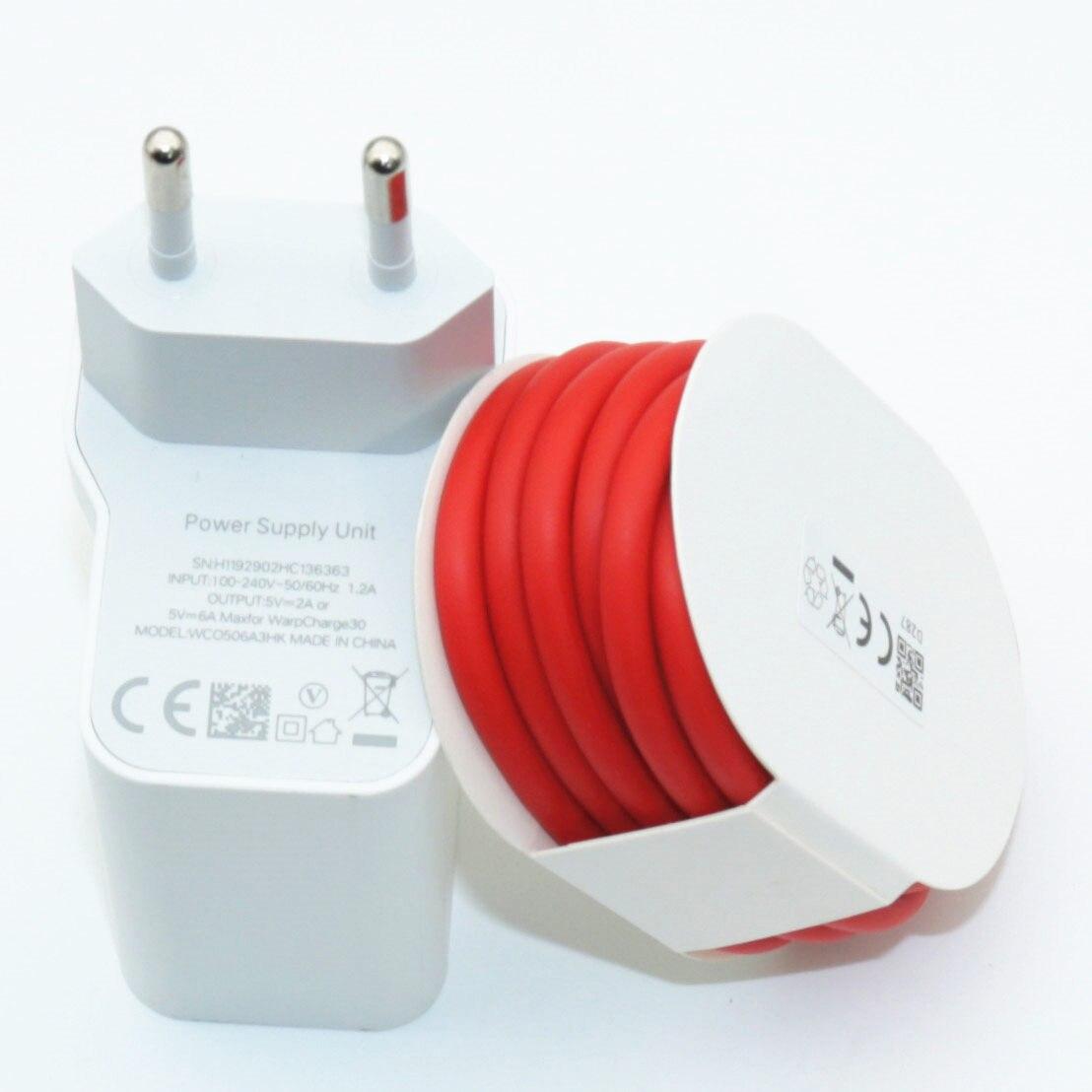 Original oneplus 7 t 7 pro carregador 30w adaptador de energia urdidura carga 30 carregador cabo 5 v 6a para um mais 7 pro charing rápido
