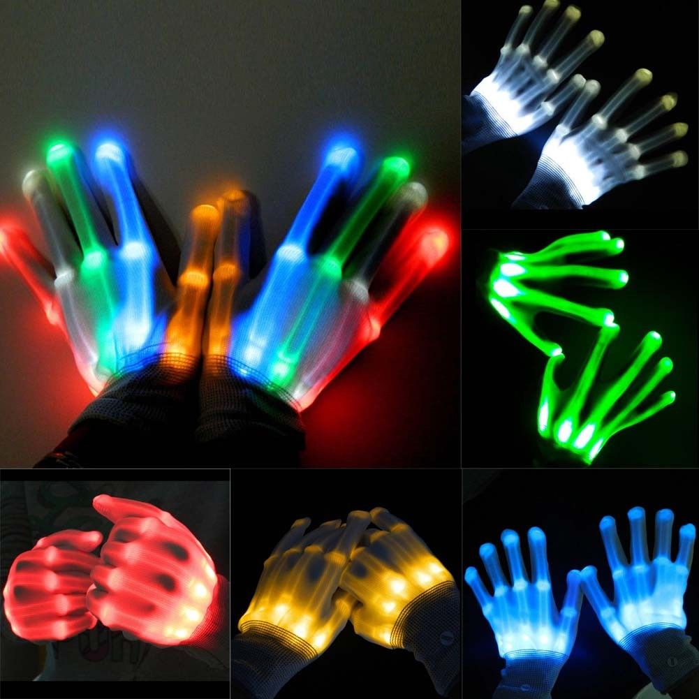 Fun LED Light Gloves Finger Lighting Electro Rave Party Dance Skeleton Halloween
