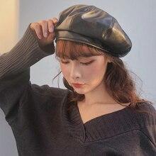HT2702 Berets Solid Plain PU Leather Hat Female Octagonal Newsboy Cap Ladies Beret Vintage Artist Painter Women