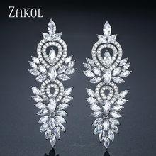ZAKOL-boucles d'oreilles Vintage pour femmes, accessoires de fête de mariage, en zircone cubique, grandes et longues, boucles d'oreilles de mariée de luxe, FSEP2181