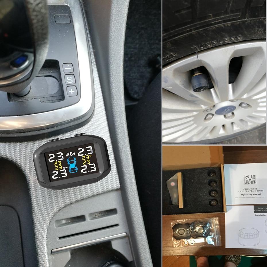 Visture TPMS Mit 10W USB Ausgang Auto Reifendruck Alarm Monitor System Reifen Überwachung Externe Interne Sensor T05W T07W t05N