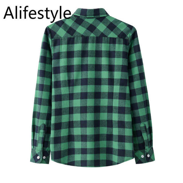 2020 New Women Blouses Brand New Excellent Quality Cotton 32style Plaid Shirt Women Casual Long Sleeve Shirt Tops Lady Clothes 4