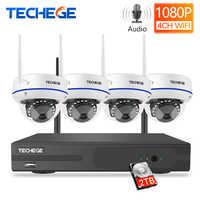 Techege 4CH 1080P H.265 Wireless NVR Kit 2.0MP Audio Record E-mail Alarm Vandalproof IP Kamera Sicherheit Video Überwachung System
