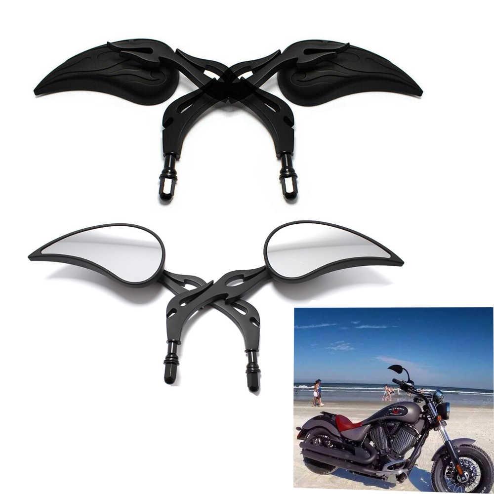 2x Black Skull Teardrop Rear View Side Mirrors Motorcycle For Harley Chopper BMW