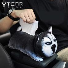 Vtear araba doku kutusu kapağı araba kol dayama sevimli hayvan peçete tutucu doku kutusu organizatör araba aksesuarları oto iç ürünleri