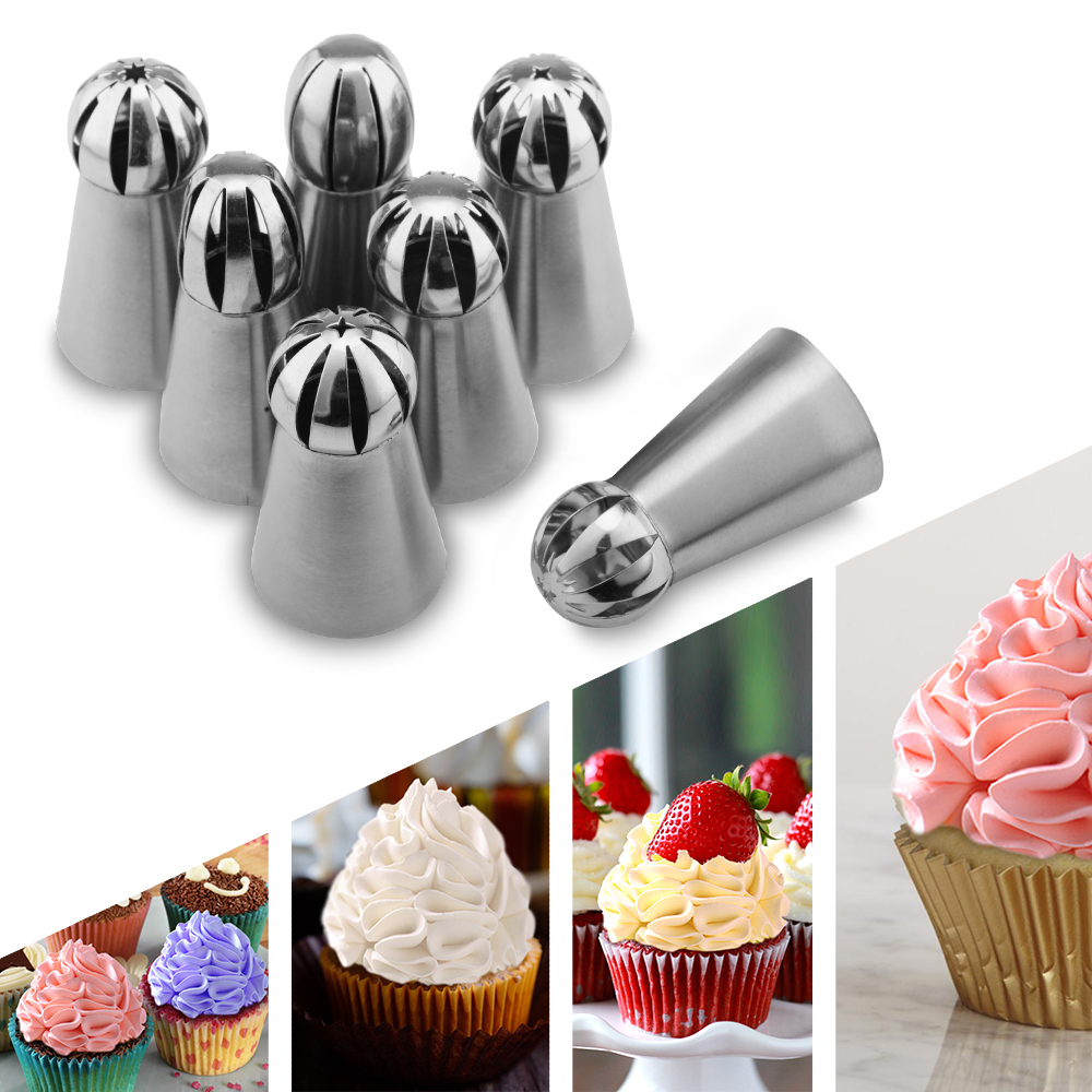 Icing Piping Nozzle 7PCS Russian Spherical Ball  Pastry Tips Fondant Cupcake Sphere Shape Cream Baking Tip Tool Stainless Steel
