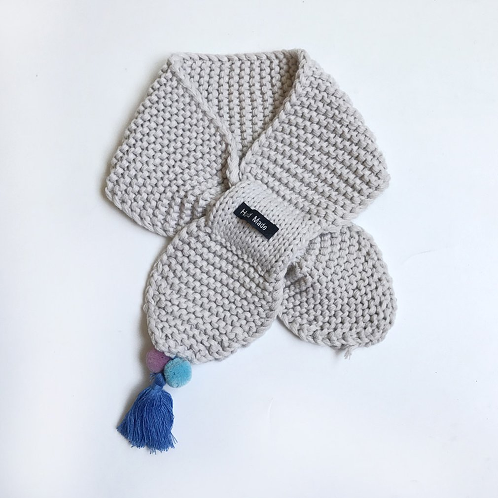 Cute Kids Scarf Unisex Collar Neck Scarves Button Decoration Ring Solid Design Boys Girls Scarves Clothing Accessories