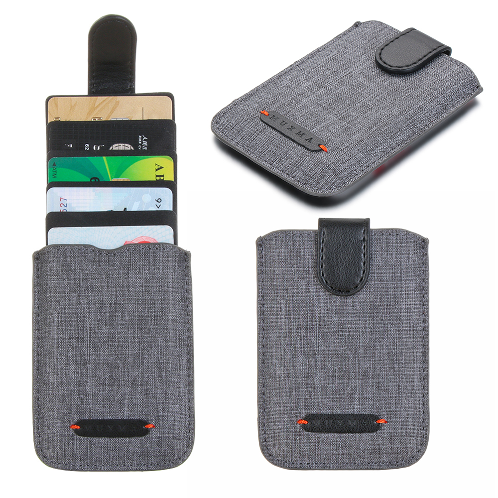 High Quality RFID Blocking 5 Pull Credit Card Holder Cell Phone Wallet Case Stick Adhesive Men Bank Business Name Card Holder