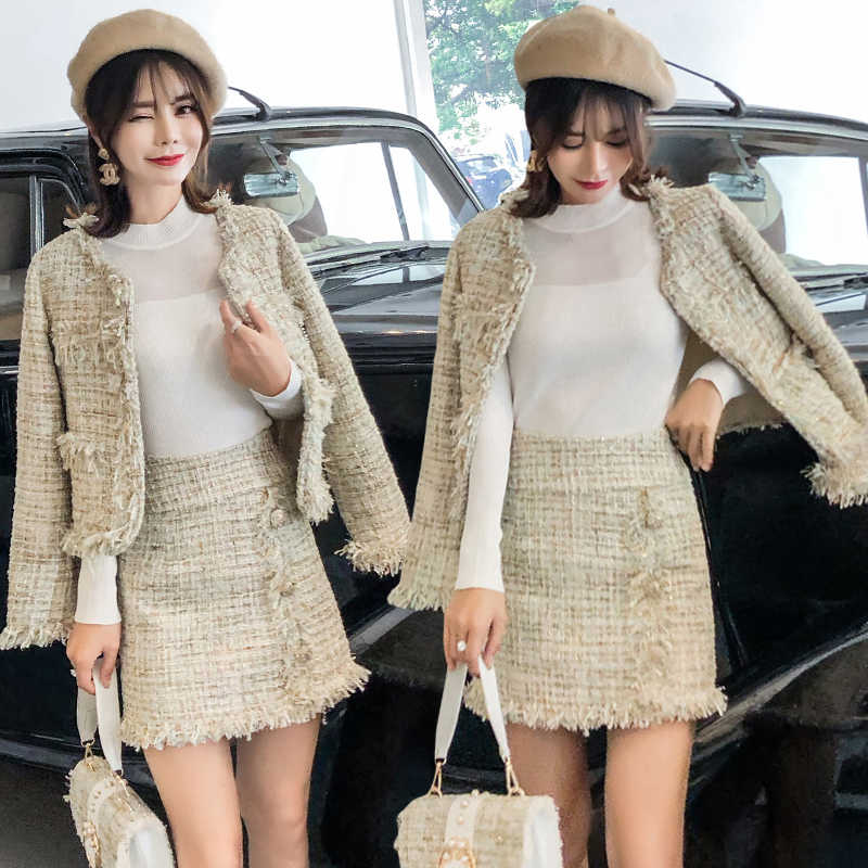 여성 의류 정장 가을 새로운 숙녀 기질 술 거친 트위드 긴 소매 bottoming 셔츠 짧은 코트 투피스 세트