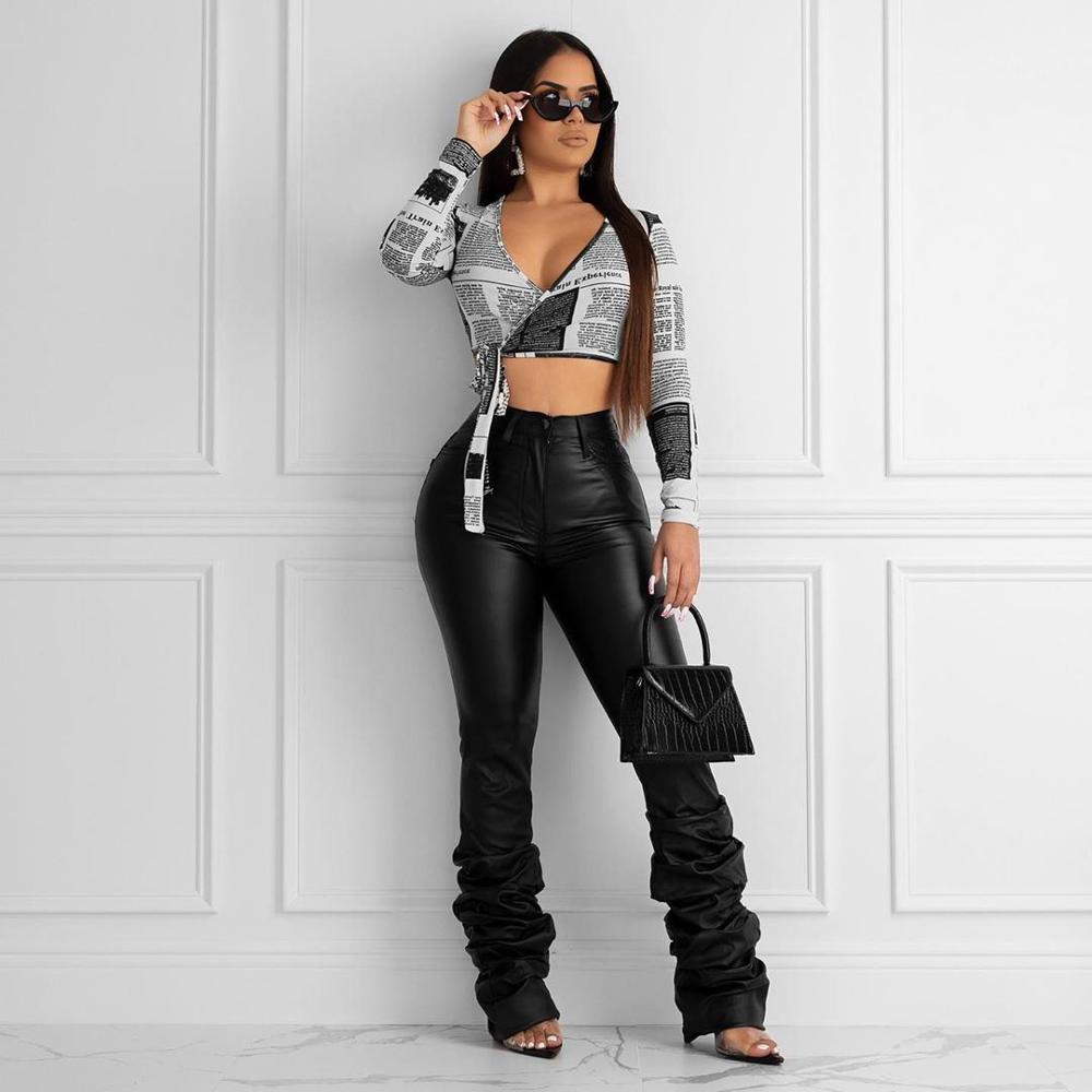 Echoine Winter Autumn PU Leather Plus Size Women Pants Sexy Bodycon High Waist Draped Hem Female Elegant Long Trousers Club