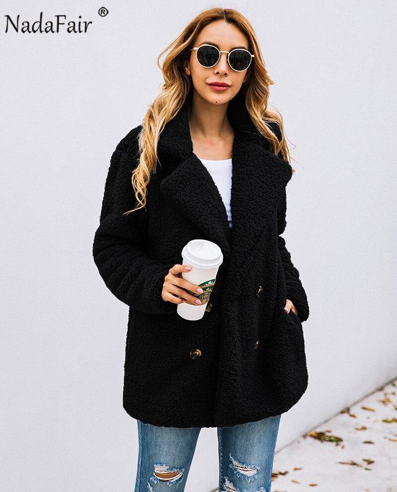 Nadafair plus size fleece faux fur jacket coat women winter pockets thicken teddy coat female plush overcoat casual outerwear 12