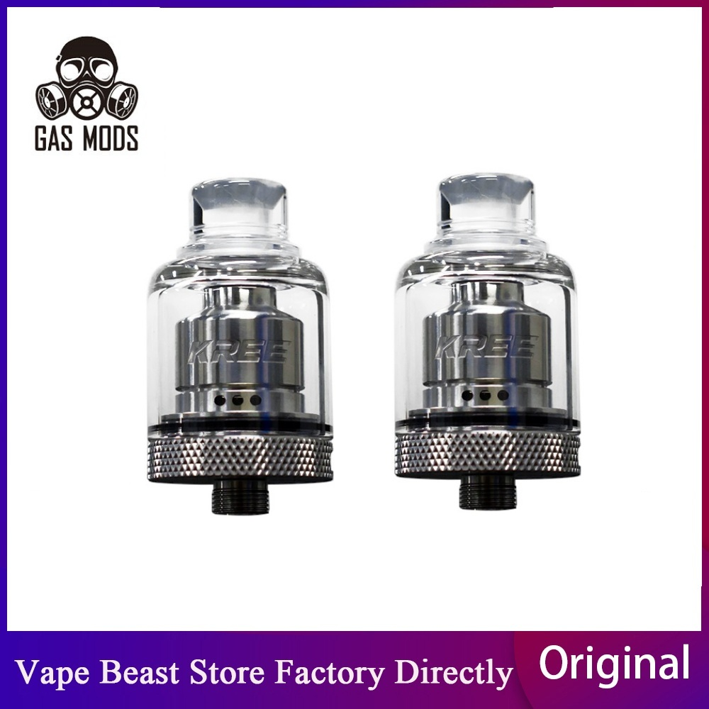 Original GAS MODS Kree RTA 2ml Atomizer With 22mm Diameter Easy Single Coil Building Deck 5 Air Inlets E-cig Vape Tank Vs Zeus X