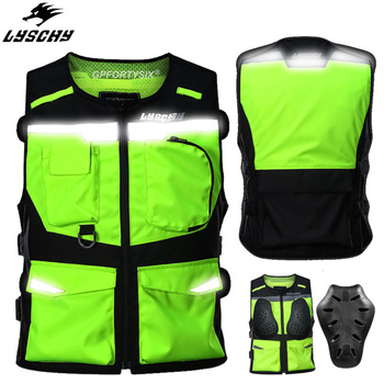 LYSCHY Motorcycle Jacket Reflective Vest High Visibility Night Shiny Warning Safety Coat for Traffic Work Cycling Team Uniform unisex car motorcycle reflective safety clothing high visibility safety reflective vest warning coat reflect stripes tops jacket