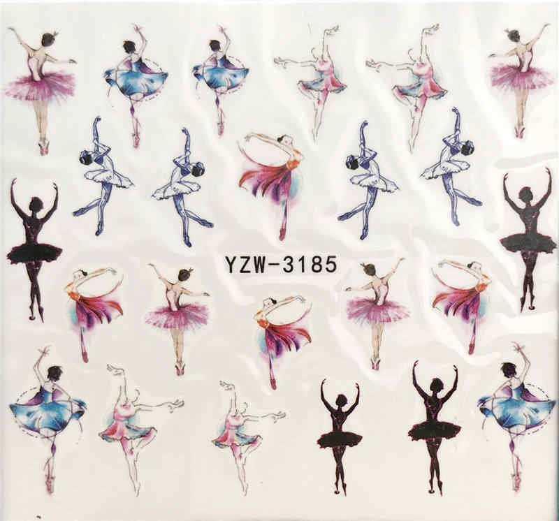 Yzwle 1 Vel Nail Art Water Decal Danser/Ballet Nail Sliders Decor Tips Nail Patroon Sticker Voor Nail Beauty zorg