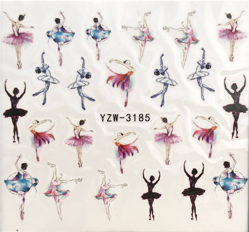 YZWLE 1 Sheet Nail Art Water Decal Dancer/ballet Nail Sliders Decor Tips Nail Pattern Sticker For Nail Beauty Care
