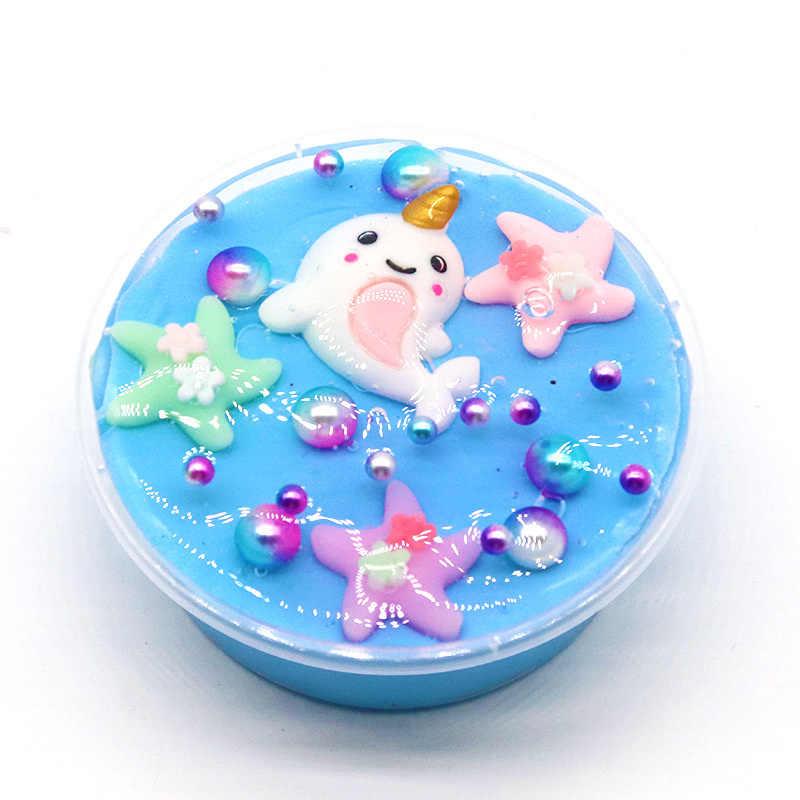 2019 Foam Clear Dolphin Slime DIY Crystal Lizun Dough Anti Stress Sludge Toygrains Plasti Modeling Clay for Kids toys