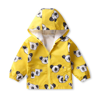 Spring  Autumn Kids Jackets Kids Hooded Zipper Windbreaker Toddler Baby Print Coat Infant Children Clothes Waterproof Hoodies цена 2017