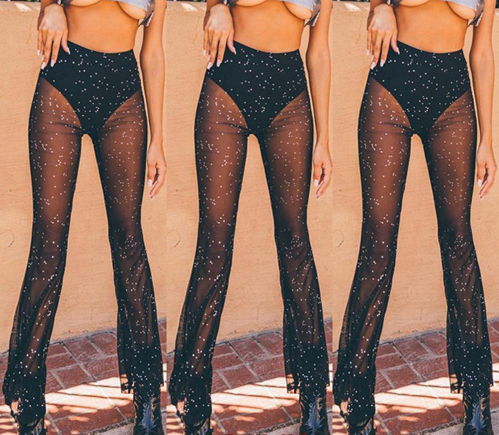 Sexy Women Crochet Beach Wide Leg Pants Lace See Through Swimwear Long Trousers