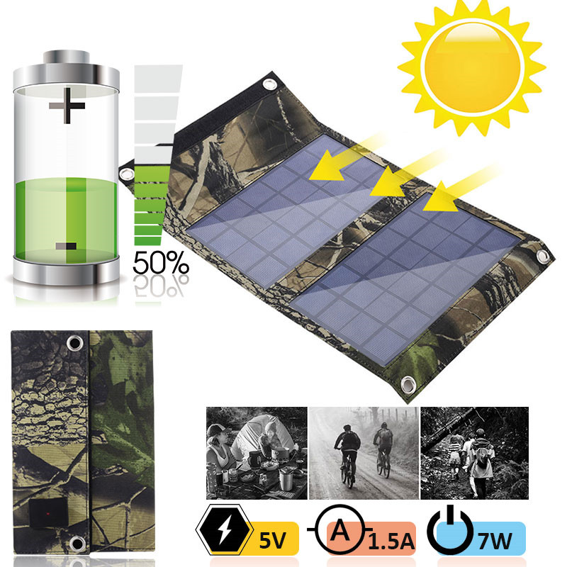 NEW 5V 7W Portable Folding Solar Panel Power Source Mobile USB Charger for Cell phones GPS Digital Camera PDA