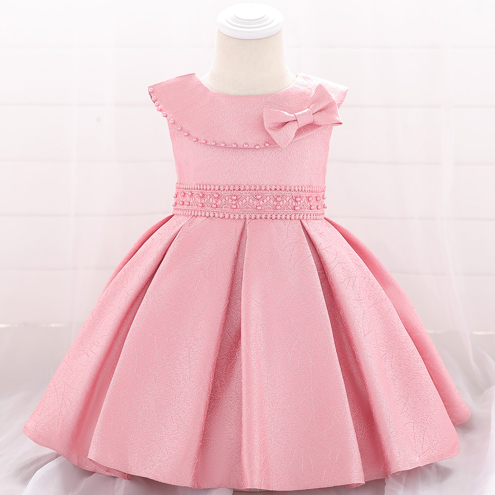 Europe And America Satin Beads Butterfly Infants Baby BABY'S FIRST Month Puffy Princess Dress Baby Dress CHILDREN'S Dress
