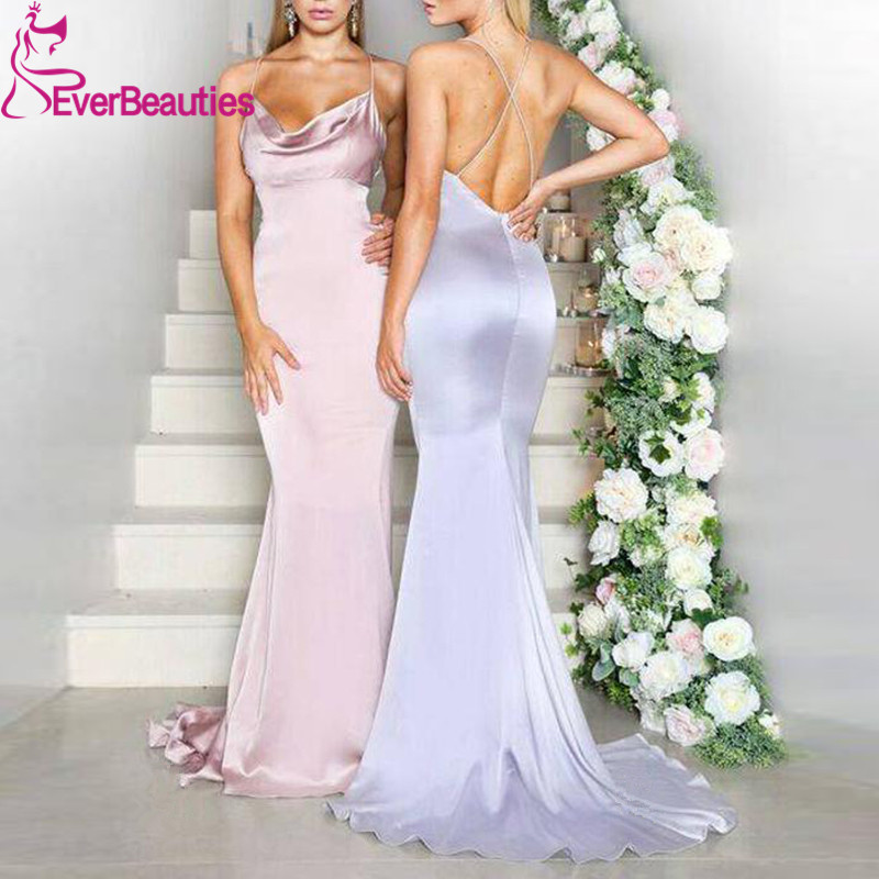 Vestido Madrinha Mermaid Bridesmaid Dresses Long 2020 Satin Wedding Guest Dress Spaghetti Straps Backless Vestido De Festa