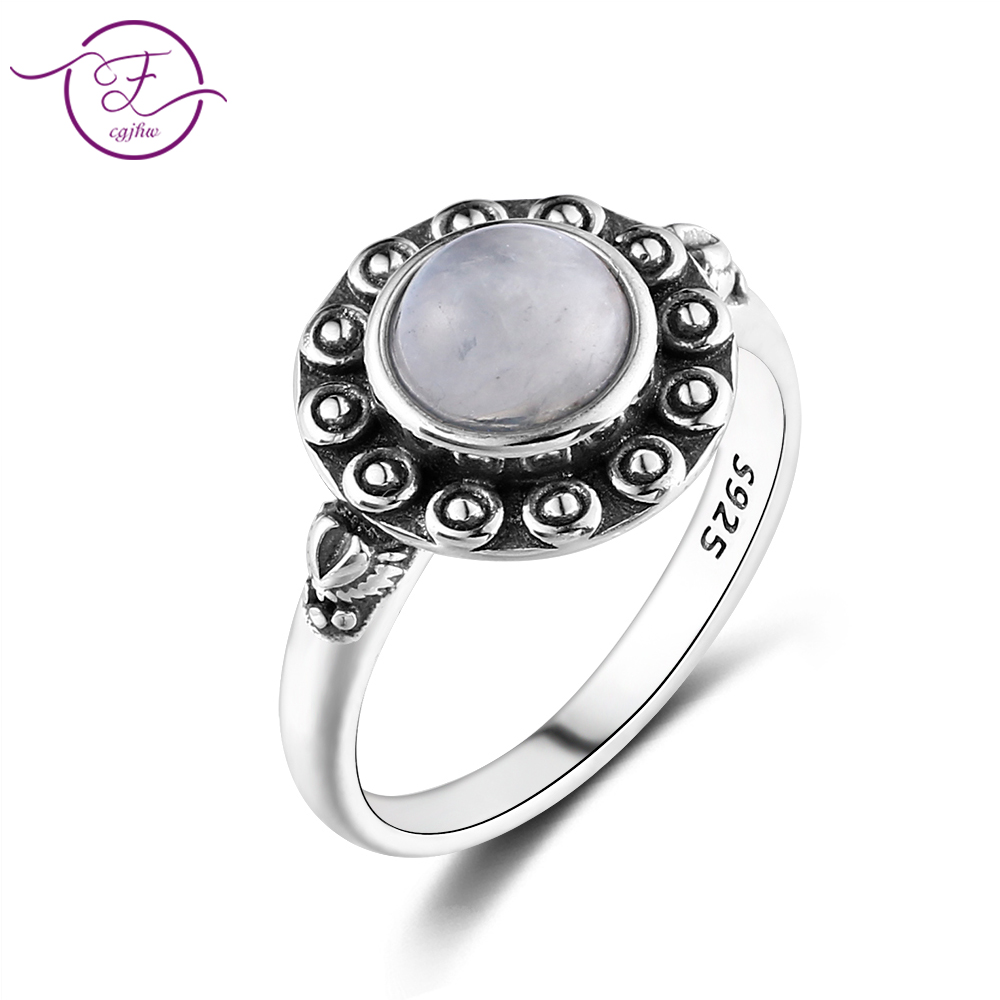 925 Silver Ring Round 7MM Natural Moonstone And Natural Purple Dragon Crystal Retro Heart Ring Engagement Wedding Party Gift