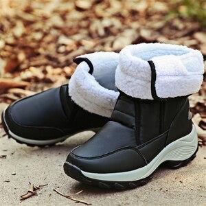 Image 5 - JIANBUDAN 2021 New winter warm Snow Boots Outdoor waterproof womens Cotton boots Plush comfort warm Female high top boots