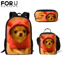 FORUDESIGNS 3Pcs School Bag Set for Kids Dog 3D Print Backpack Girls Bagpack Children Boys Cute Bookbag Satchel Daypack