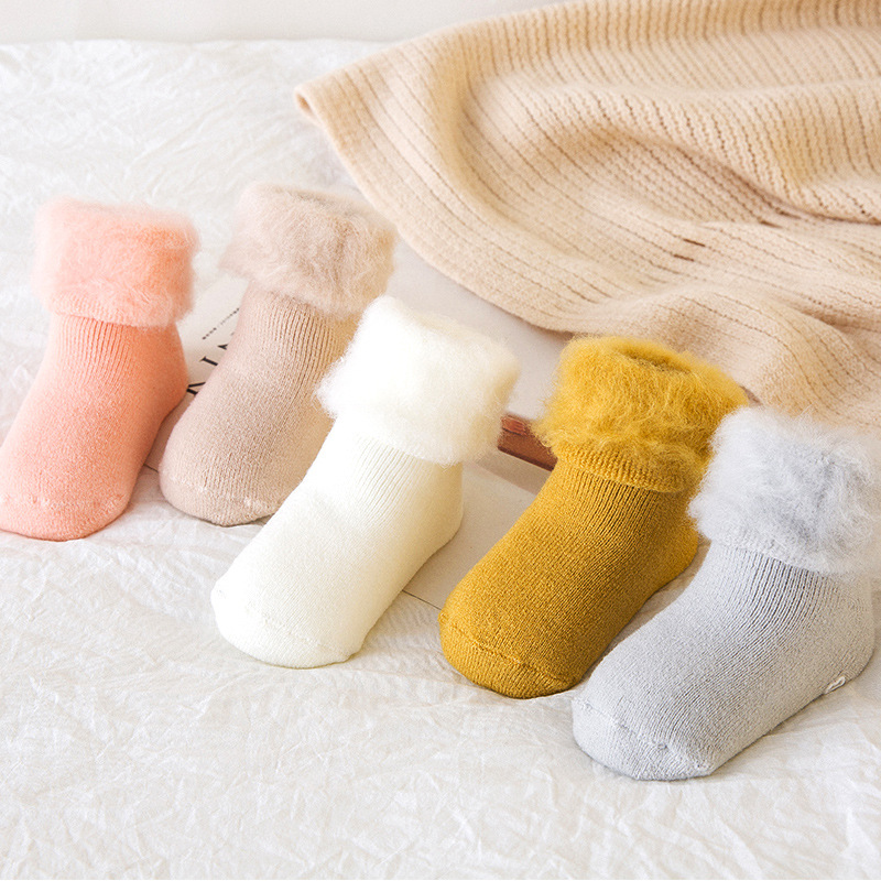 Solid Color Woolen Socks Winter Thick Warm Baby Terry Socks Newborn Cotton Boys Girls Toddler Socks With Non-slip Rubber Soles