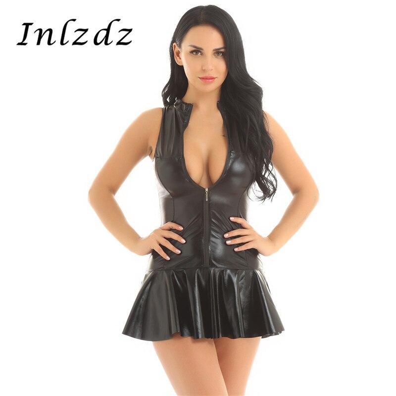 Women's Exotic Leather Dress Wet Look Sexy Bodycon Sex Dress High Collar Sleeveless Bottom Flare Mini Dress Lingerie Latex Dress