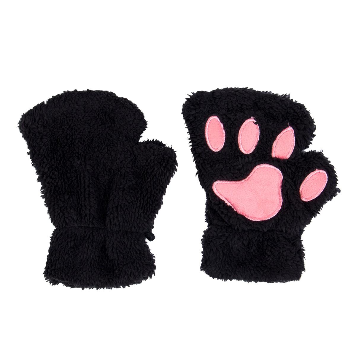 1 Pair Women Girls Lovely Fluffy Bear Cat Plush Paw Claw Half Finger Gloves Mitten Winter Warm Fingerless Gloves