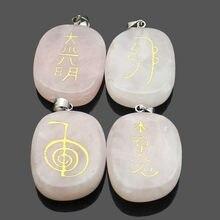 20*25mm pedra de cristal rosa natural escultura religioso reiki símbolo pingente feminino jóias fazendo diy encantos colar acessórios