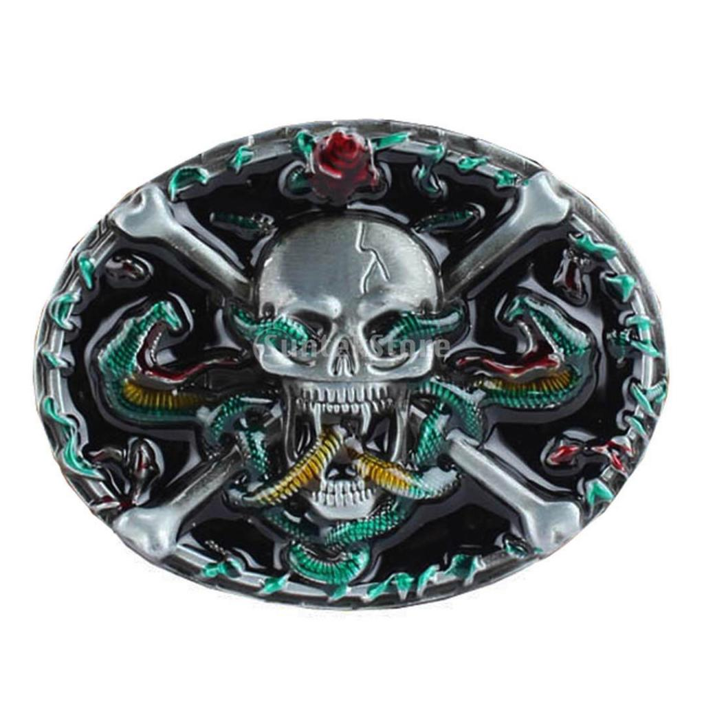 Gothic Belt Buckle Skeleton Skull Beauty Flower Painted Rock Western Biker