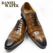 купить 2019 NEW STYLE MEN LEATHER SHOES BROWN BLACK SHOES CROCODILE SKIN LACE UP POINTED TOE FORMAL OFFICE WEDDING OXFORD SHOES FOR MEN по цене 3631.06 рублей