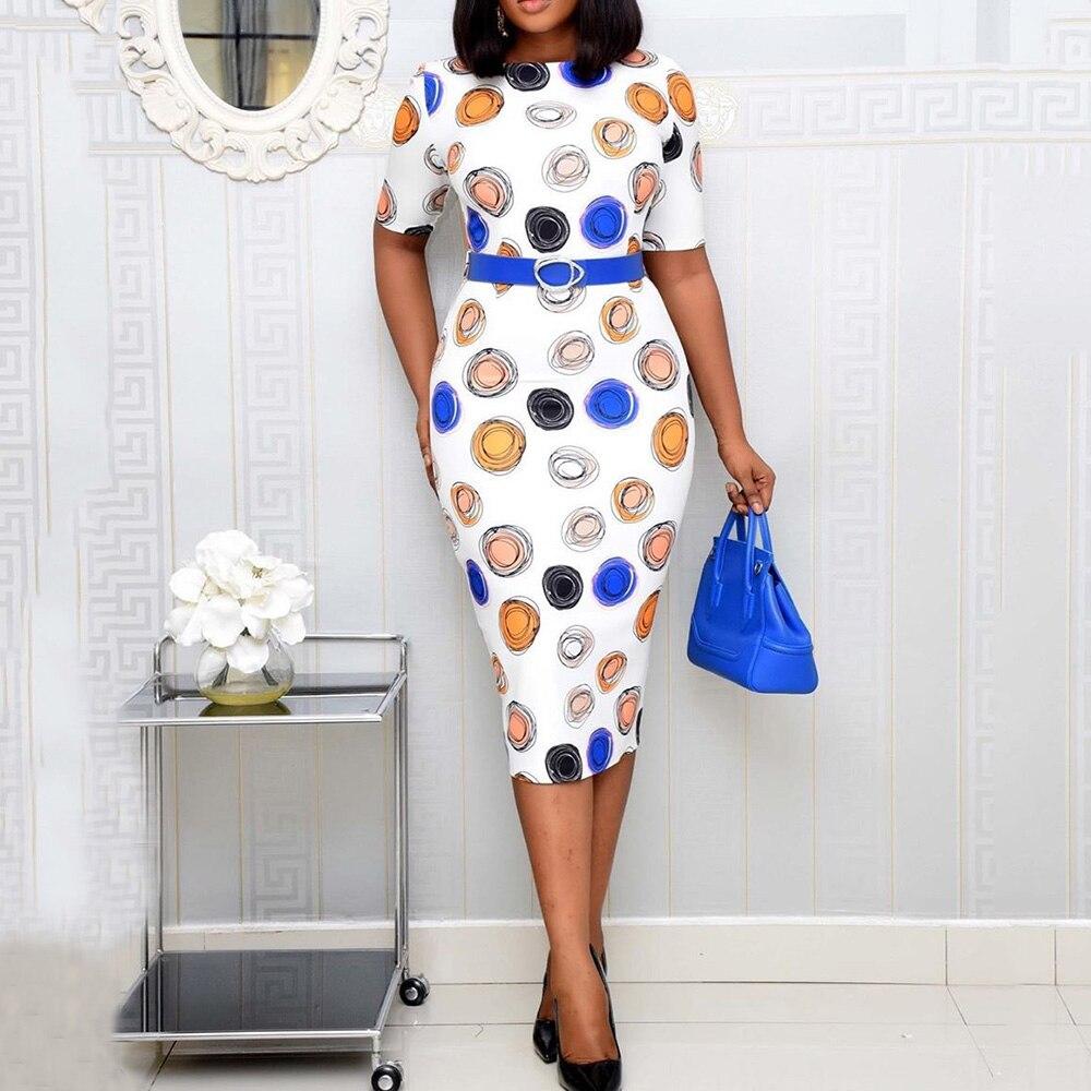 Women Dress Ladies Summer Short Sleeve Round Neck Plus Size Casual Office Work