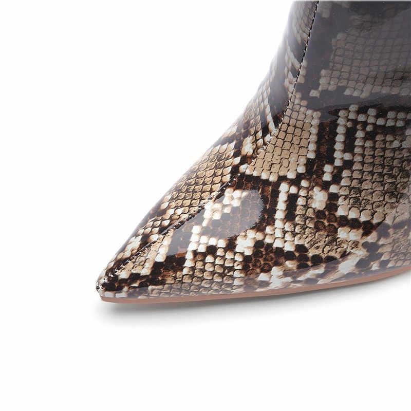 Yechne Winter Vrouwen Pittige Neus Martin Laarzen Snake Skin Patroon Chelsea Laarzen Vrouw Schoenen Hoge Hakken Enkele Laarzen Geel