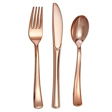 Disposable Plastic Spoon Cutlery Rose-Gold-Knife Baby Shower Birthday-Party Wedding Fork