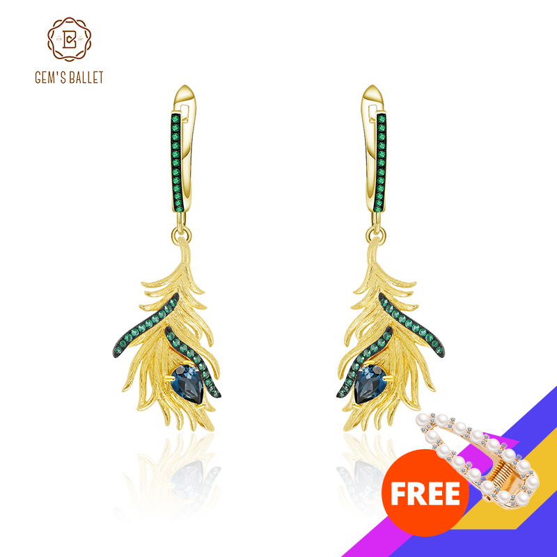GEM'S BALLET 925 Sterling Silver Gold-plated Feather Ethnic Drop Earrings Dangle Natural London Blue Topaz Jewelry For Women