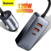 Baseus 4 Port 120W USB Auto Ladegerät Schnell Ladung PPS Schnelle Lade PD 20W Typ C Auto Ladegerät für iPhone 12 Xiaomi Samsung Tablet