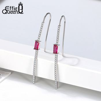 Effie Queen Exquisite 925 Silver Jewelry Set with Hanging Earring Rings Red Stone AAAA Zircon Woman Jewelry Party Gift DSS72 3