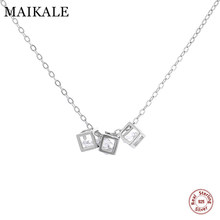 MAIKALE Luxury 925 Sterling Silver Necklaces Pendant with 3pcs Square AAA Cubic Zirconia Charm Necklace for Girls Women Jewelry(China)
