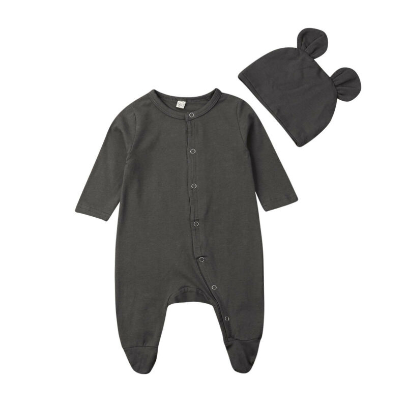 2PCS Newborn Infant Baby Boy Girl Autumn Long Sleeve Cotton Button Solid Color Jumpsuit+Hat Outfit Set