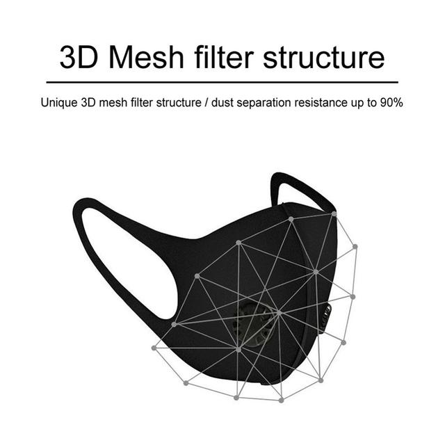 Black Double Valve mouth Mask anti dust mask Activated carbon filter Windproof Mouth-muffle proof Flu Face masks Care 3