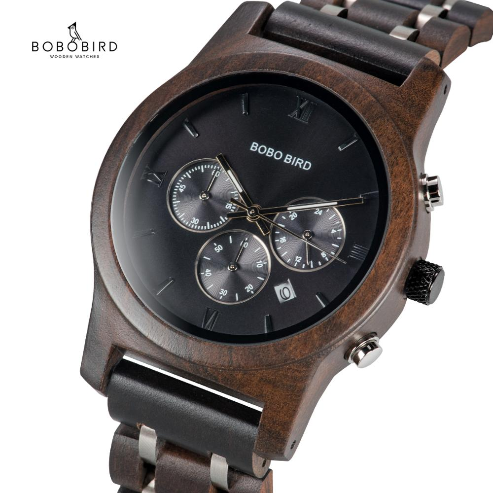 BOBO BIRD Wooden Watches Men Quartz Wristwatch Male Stopwatch Relogio Masculino In Wood Box Saat Erkek Timepieces  Montre Homme