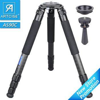 ARTCISE AS90C Professional Heavy Duty Carbon Fiber Tripod for DSLR Camera 10 Layers 40mm Max Tube Ultra Stable 75mm Bowl Adapter heavy duty carbon fiber tripod for dslr camera af80c professional camera stand 65mm bowl adapter fast flip lock 20kg max load