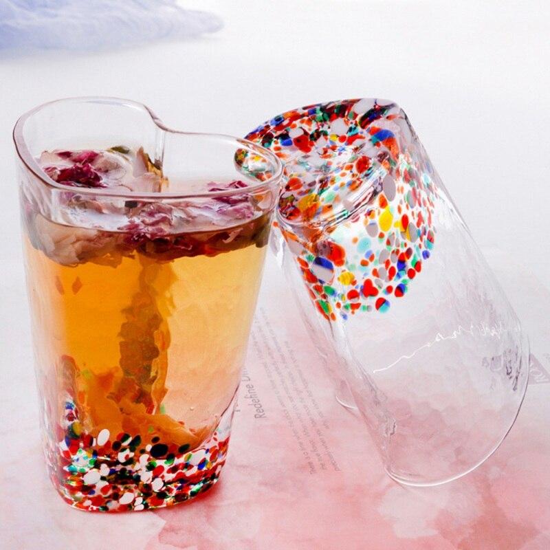 Transparante Koffie Cup Voor Drinken Beest Geschenken Muur Transparant Glas Thee Cup Hartvormige Voor Vriendin Kantoor Home Decor - 2