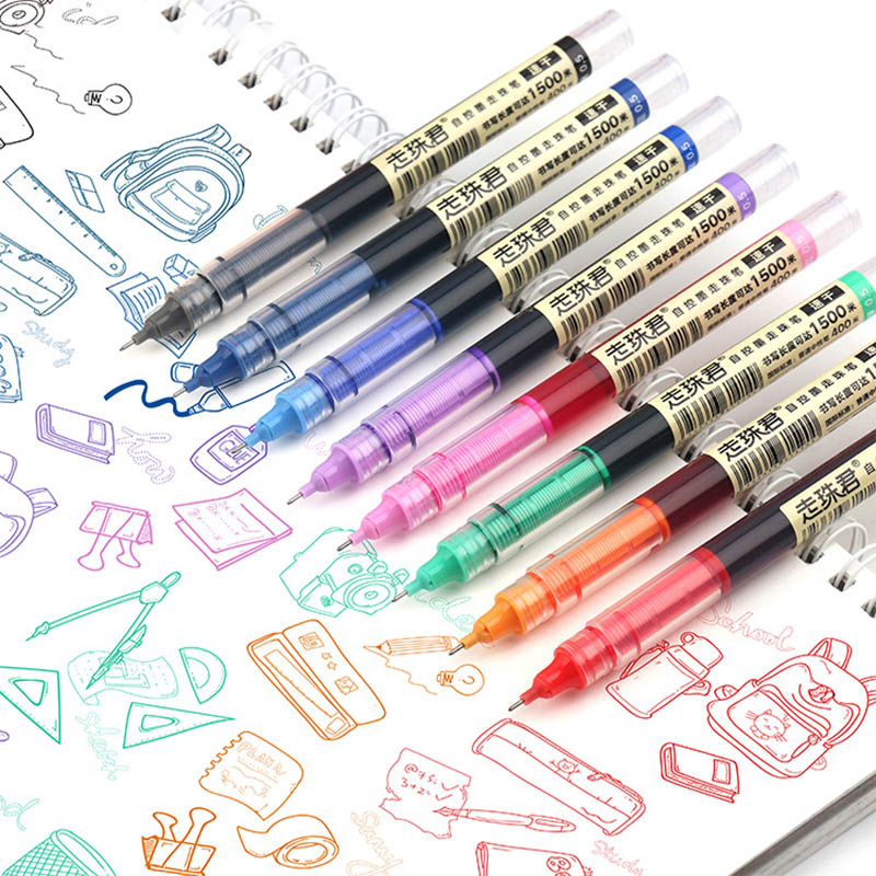 6Pcs/Set 0.5mm Vintage Quick-Drying Multicolor Neutral Pen Retro Straight Liquid Gel Pen For Journal School Office Supply
