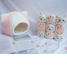 30cm Cute 9 Pcs Cat/Cat Claw Plush Toys Cat Nest Stuffed Pillow Doll Sofa Pillow Pet House Baby Toy for Kid Party Birthday Gift