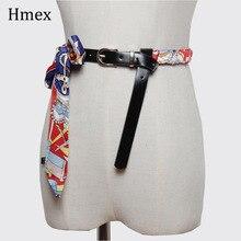 New Women Belt Print Pattern Spliced Leather Belts Fashion PU Cummerbunds Personality Irregular All-match