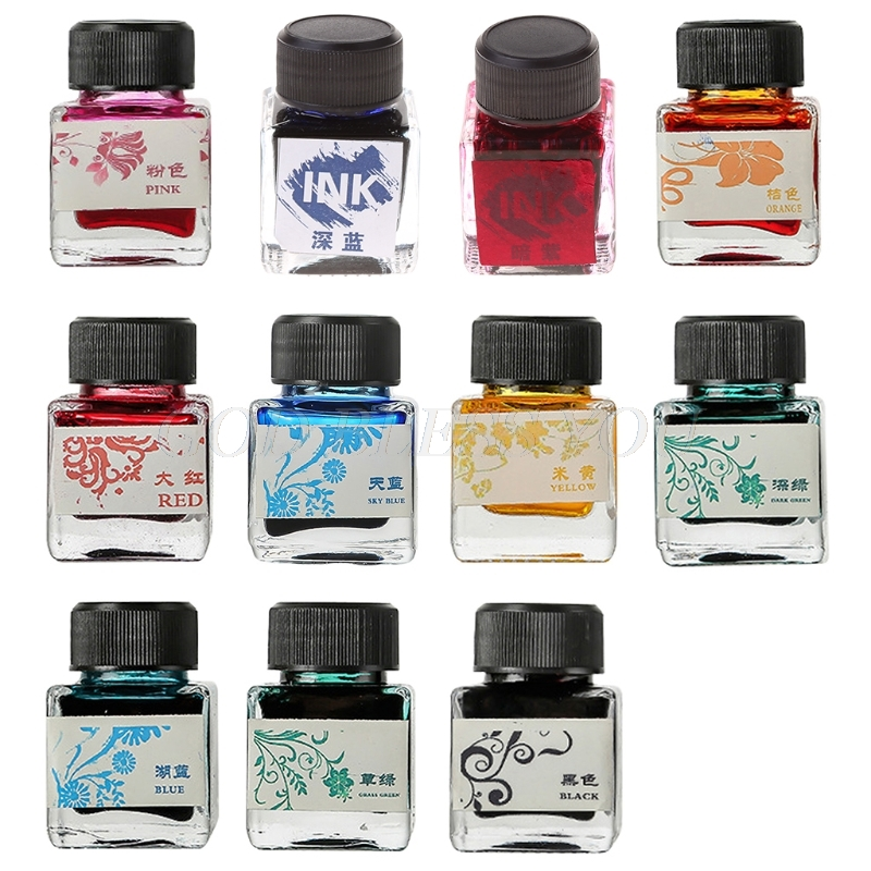 25ml Bottled Glass Smooth Writing Fountain Pen Ink Refill School Student Stationery Office Supplies 11 Colors Drop Shipping